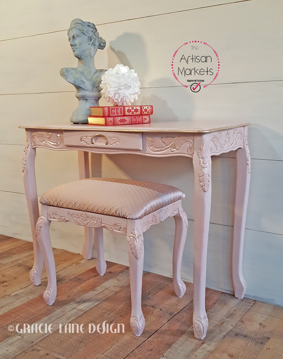 For your Princess.. Rose Pearl finish was created to perfectly match the new satin jacquard upholstery. Distressed gold leaf highlights the carved accents.