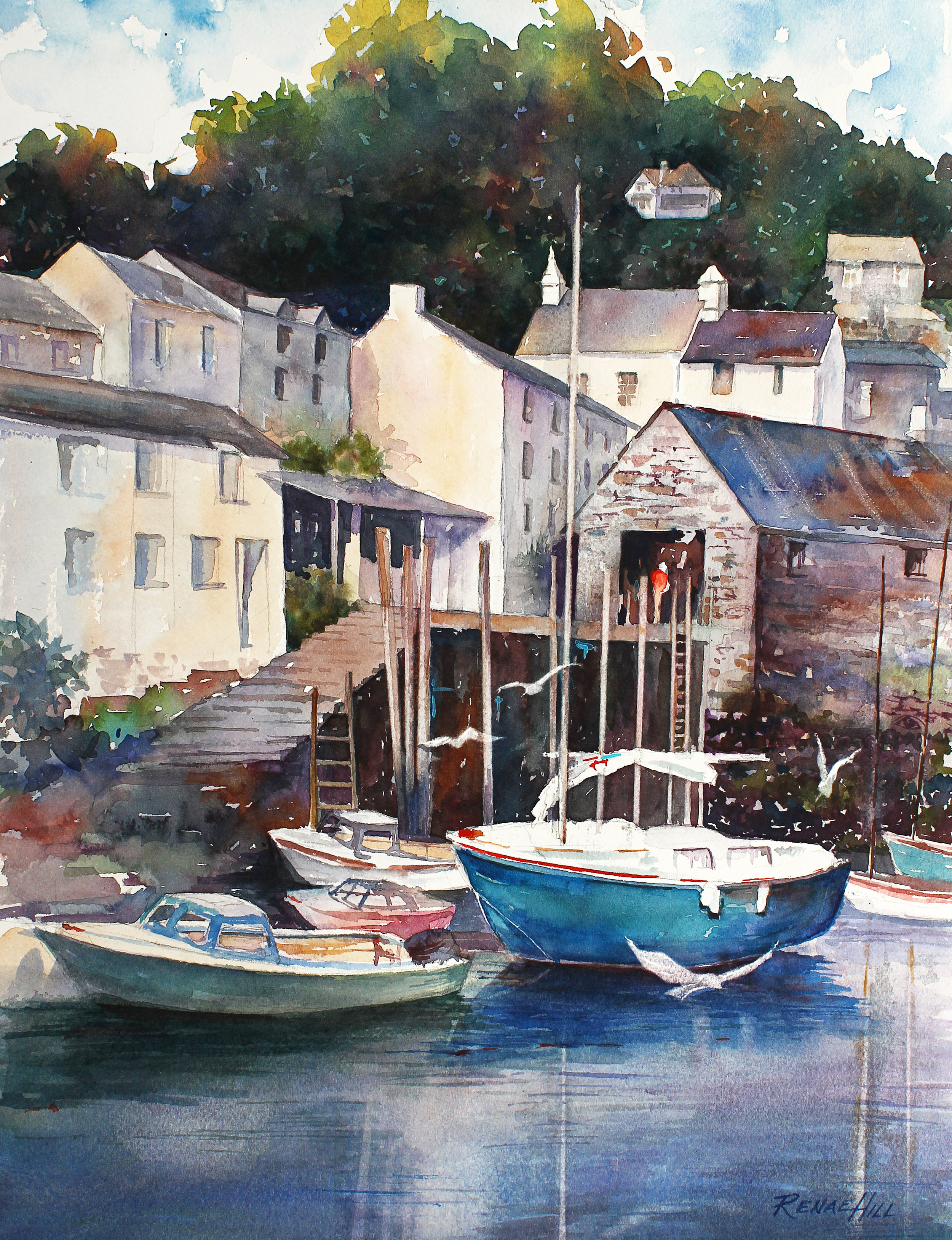 Devon  12x16 Watercolor                                              The little fishing village in Devon. England
