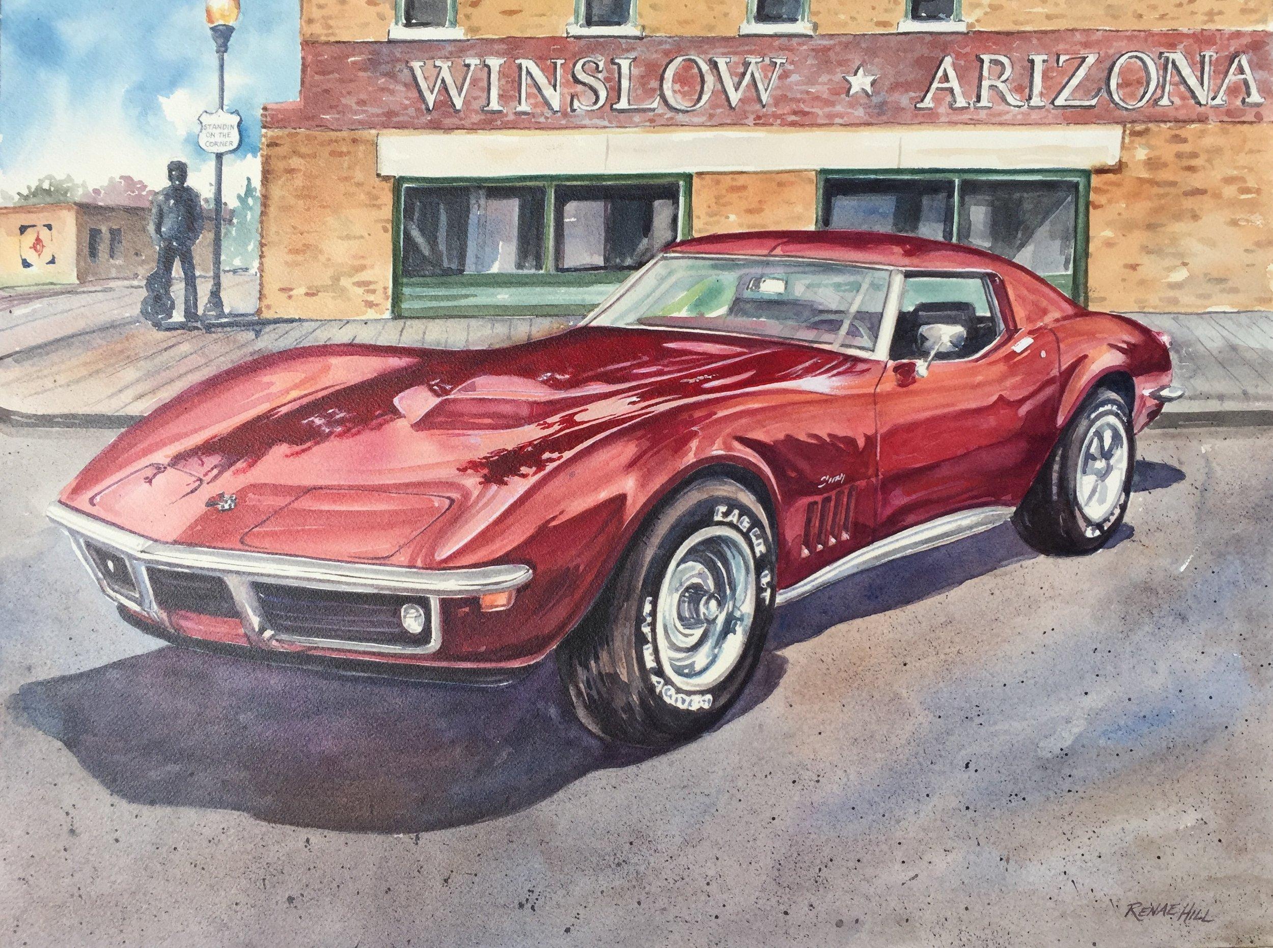 69 Corvette and Winslow, Arizona.   Watercolor 18x24 Commission