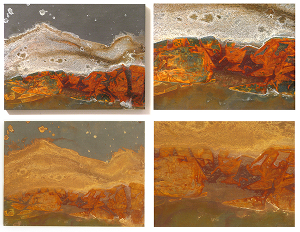 The upper images are of panel #25 after a month of aging. The lower images show the change after approximately 18 months.