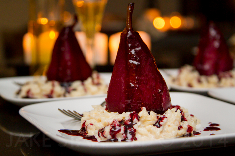 Wine Poached Pears with Sweet Risotto