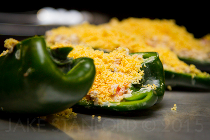 Bacon Jam and Cream Cheese Stuffed Poblano Peppers