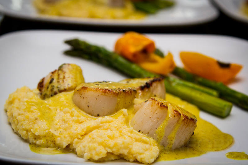 Pan Seared Scallop on Polenta with Madras Curry Cream Sauce