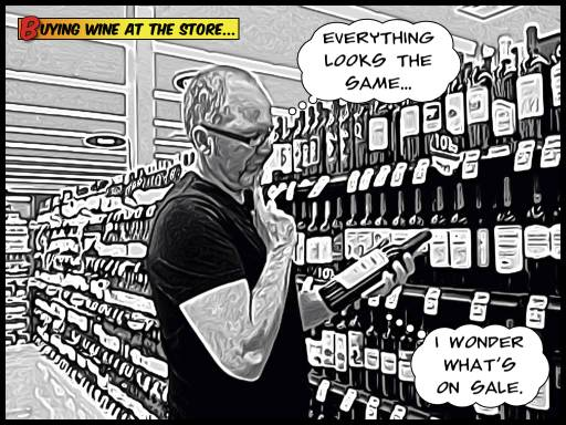 Patrick, posing for a comic book shot of a confused wine shopper.