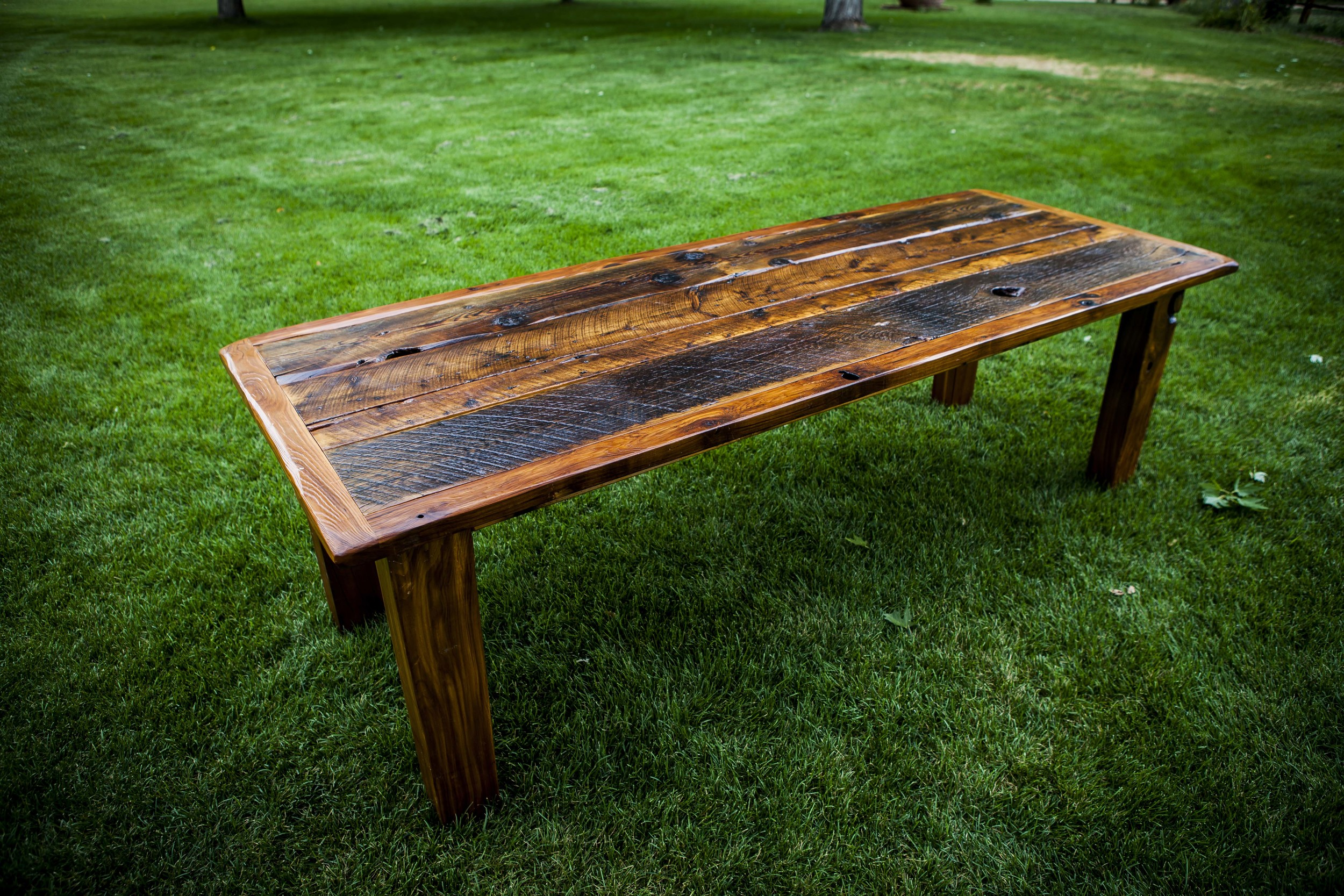 "Harvest Table  – Our signature table is 8' long x 36"" wide, comfortably seats up to 10 adults."