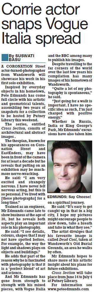 "Press article from the ""South West Londoner"" newspaper about my exhibition at Putney Library, London; 14 June - 4 July 2015"