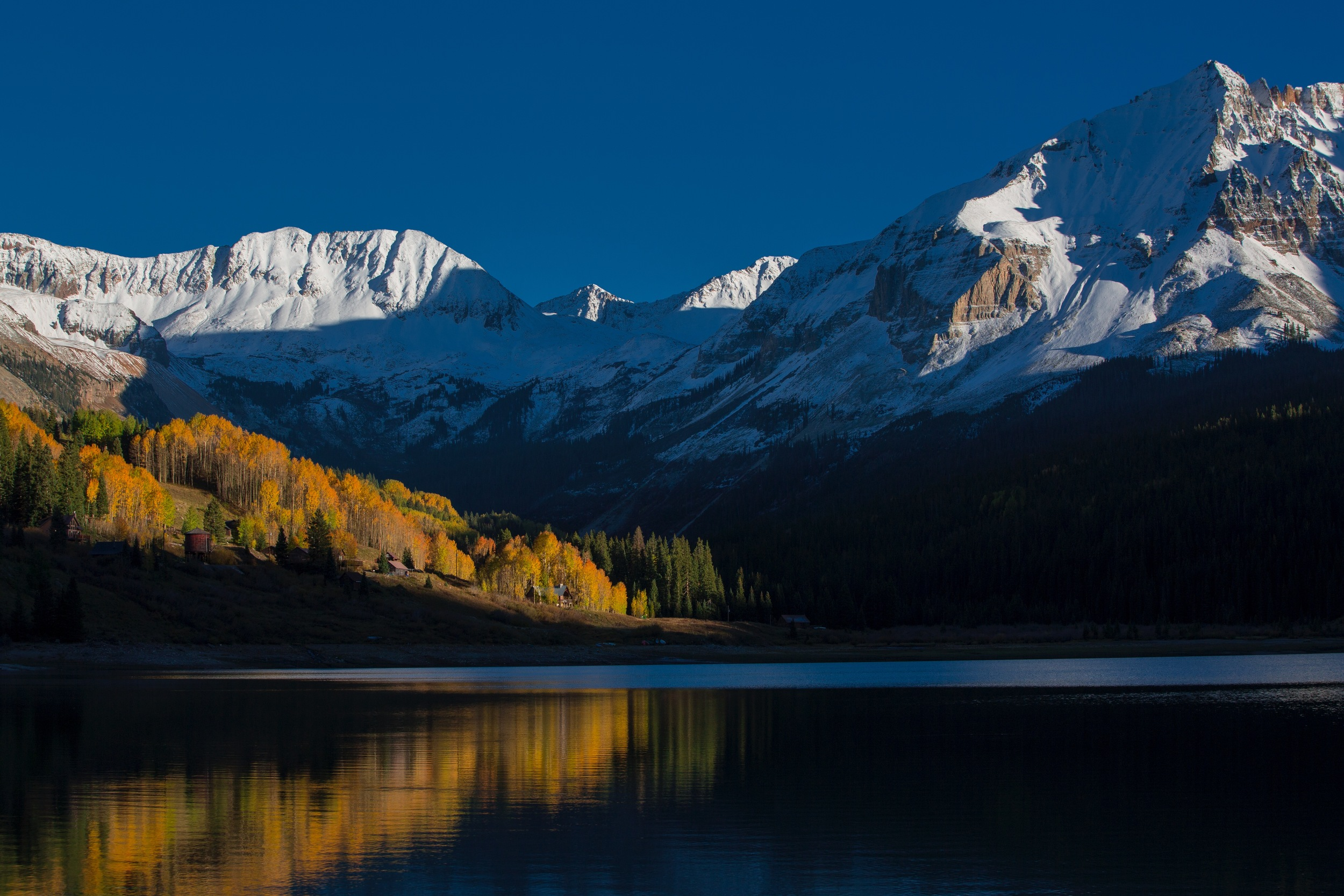 Fall colors explode in the aspen stands at Trout Lake near Telluride, Colorado in the San Juan mountains.