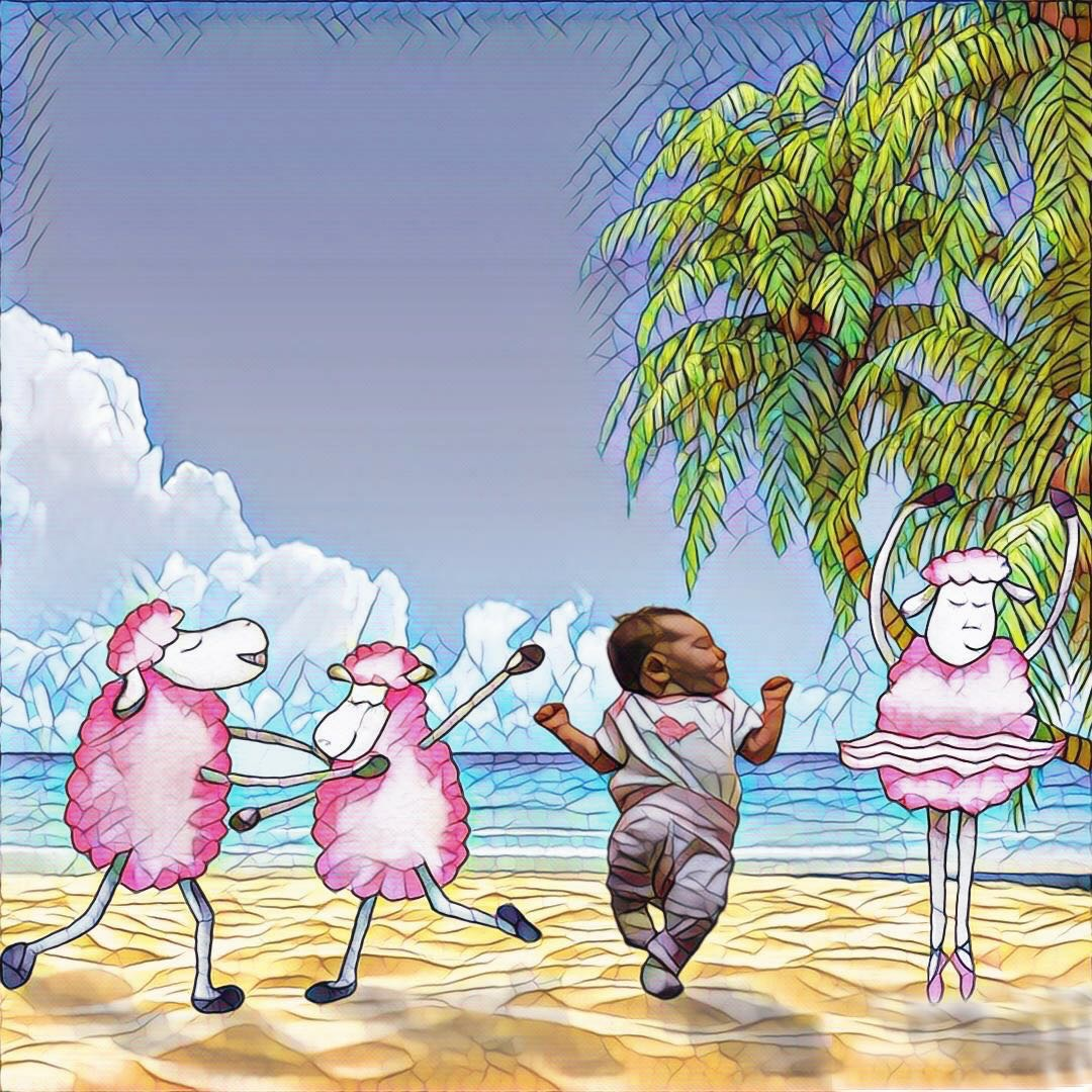 Dancing with pink dancing sheep on the beaches of Kokomo (obviously)