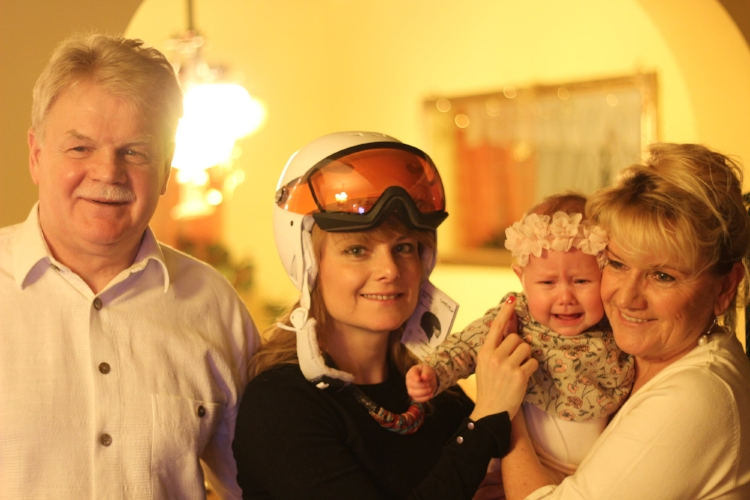 Mila enjoying Xmas with her mother, Dangerous Zsuzsa, and grandparents