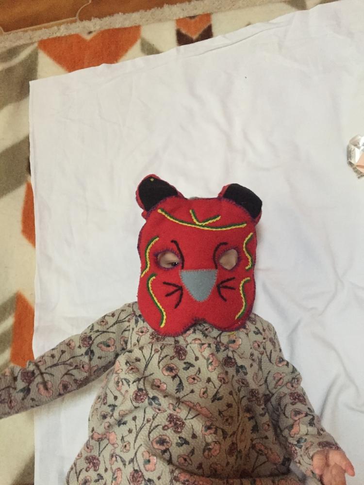 Mila enjoying her Xmas mask
