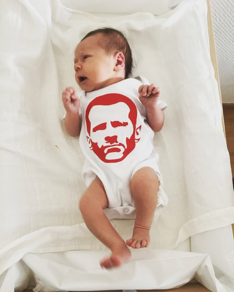 Mila, 6 days old, showing her appreciation for Ryan Giggs.