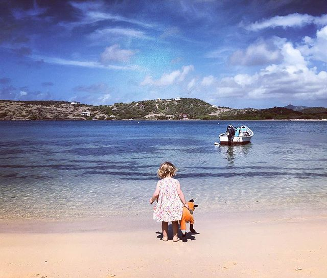 Mila and her aquatic fox. #antigua  #babygirl #carribean