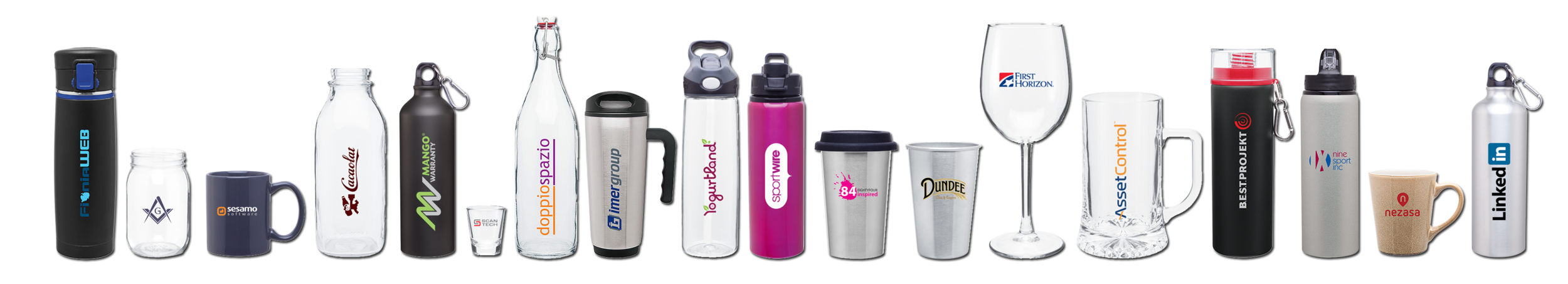 1000s of different styles and types of drinkware- aluminum, ceramic, plastic, steel, glass- all types for all the different needs!