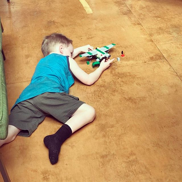 This day is officially here!! Graham is playing by himself with Legos! It helps that it's an airplane. He just looks so cute down there in the floor playing!!