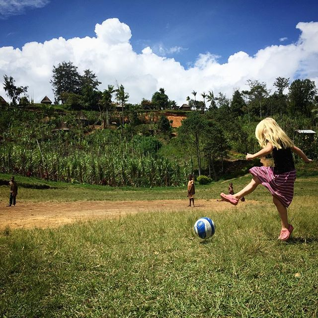 Kicking the ball around down at the field in our village! (That is until the girls decided they'd rather be horses...) Sometimes it makes me sad when I think of how our kids won't get to be a part of traditional American sports teams. It was such a big part of growing up for me and I loved it! Especially because Nora is so athletic, I know she would do amazing in any sport she chose. But then I remember how many other privileges there are to raising our kids here...they really do get to experience some incredible things. American sports is a small sacrifice to get to do what we do. #worthit #butshewouldbethebestontheteam #stillworthit #reachwantakia