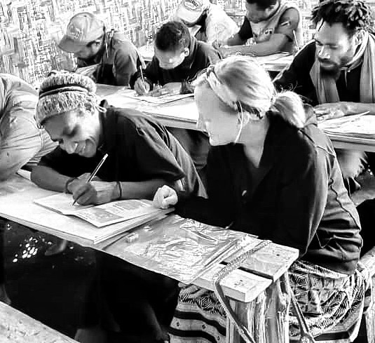 Now our students are in the first primer, which means that yesterday they learned their first letters and read their first story in their language! @laelbcrabtree was able to swing by and help as everyone transitioned from writing on training paper to writing in a real notebook. It was a big day! Keep praying for these students! #readwantakia to #reachwantakia photocred @beejsanders