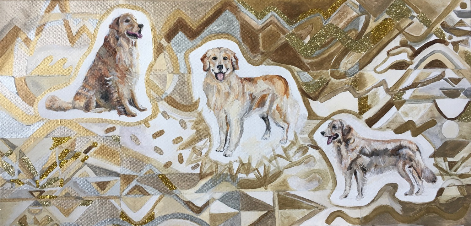 Goldens in Gold, Acrylic and Glitter on Canvas, 12 x 24 inches, 2019