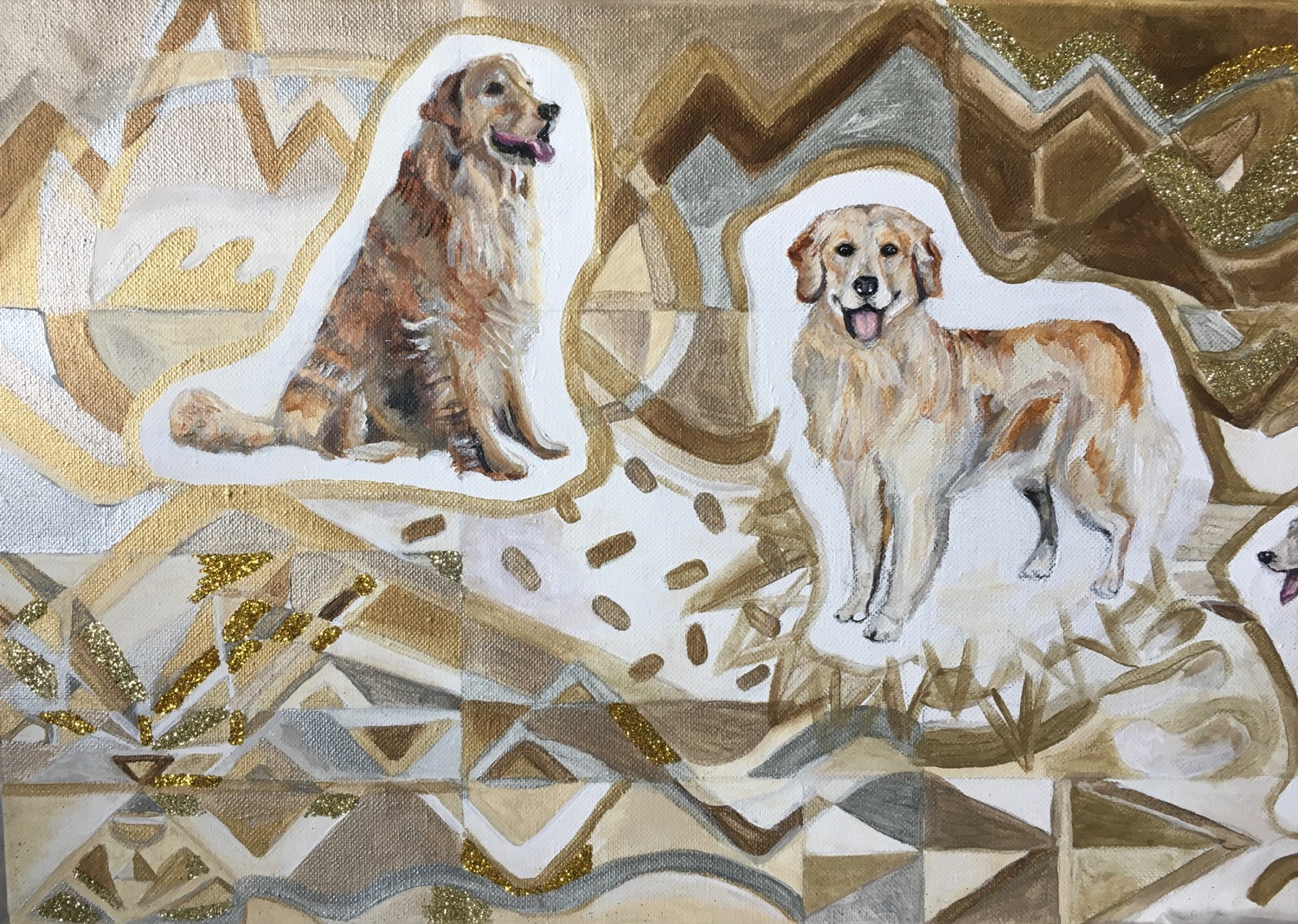 Detail of Goldens in Gold, Acrylic and Glitter on Canvas, 12 x 24 inches, 2019
