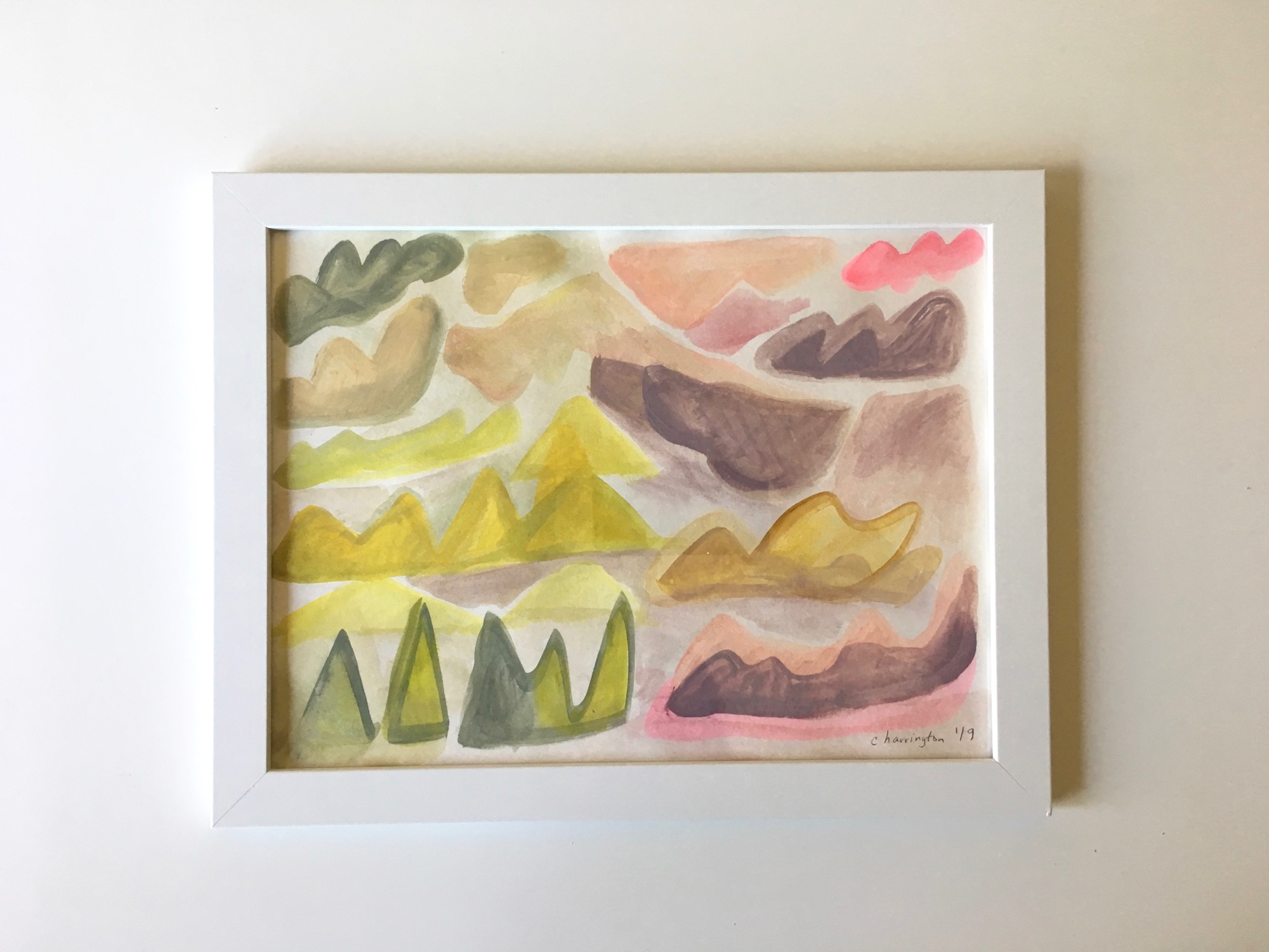 The Pastel Hills, Watercolor and Acrylic on Watercolor Paper, 9 x 12 inches, 2019
