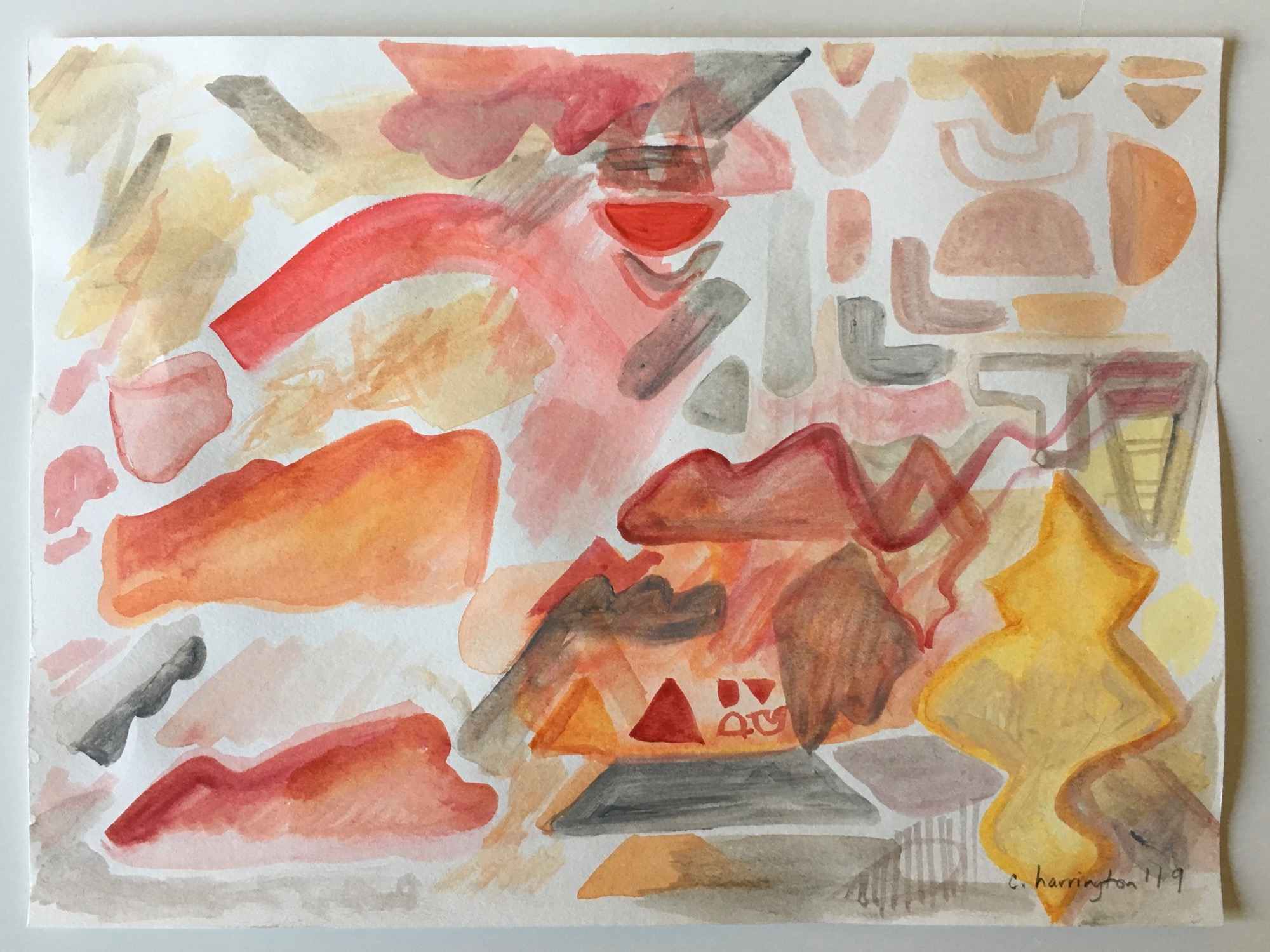 Fire Agate Canyon, Watercolor on Watercolor Paper, 9 x 12 inches, 2019