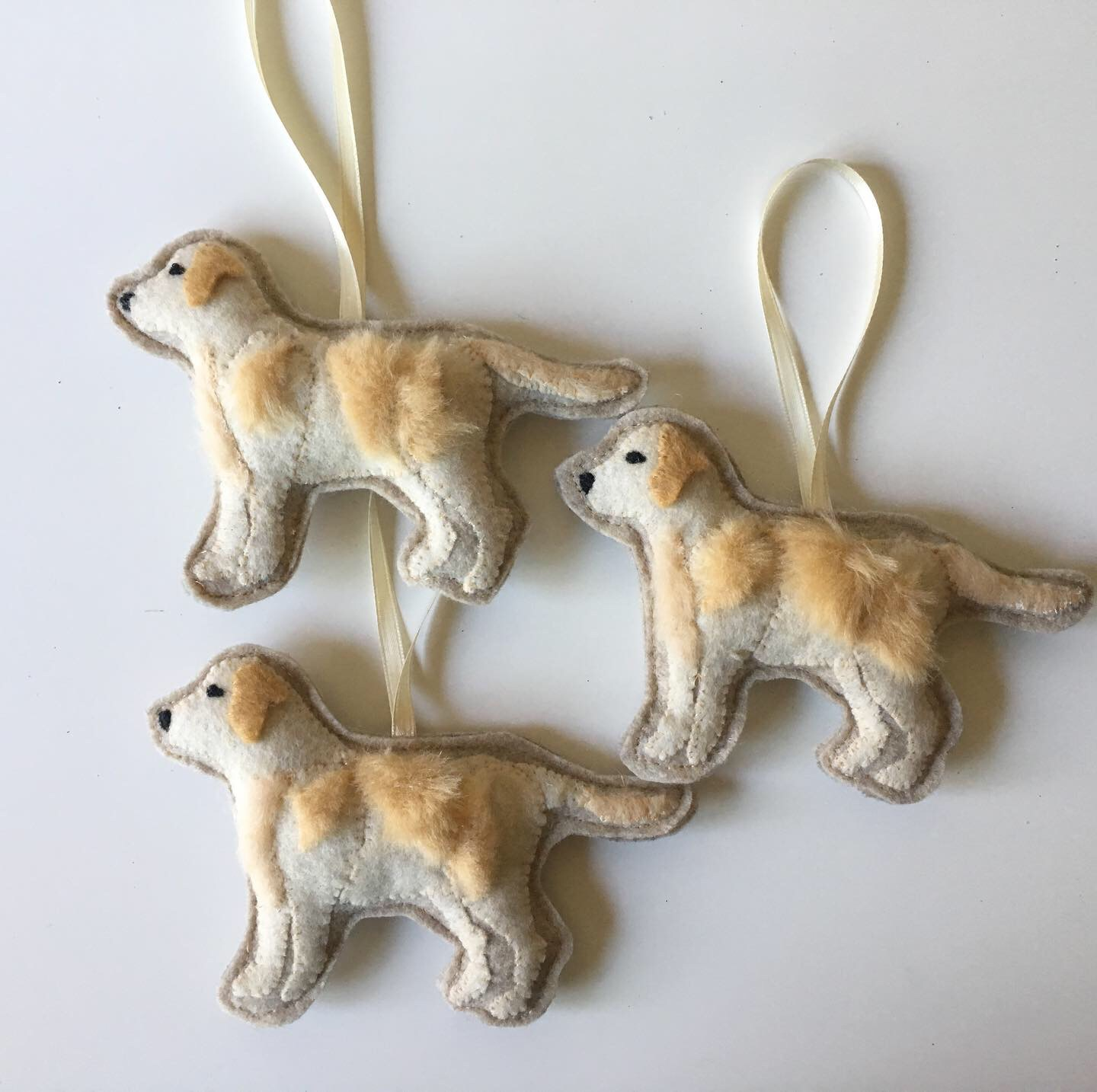 Yellow Labrador Retriever Ornaments, Hand-Appliqued Felt and Faux Fur, Approx. 4 x 6 inches, 2019
