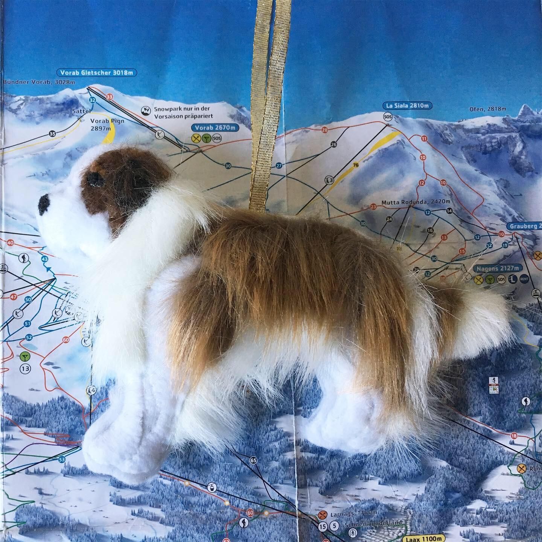 Saint Bernard Dog Ornament, Hand-Appliqued Felt and Faux Fur, Approx. 4 x 6 inches, 2019