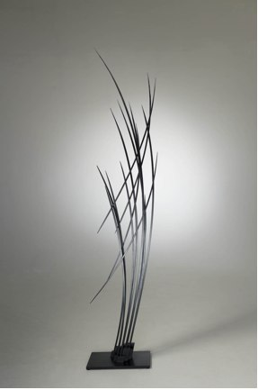 "Vertical Arc   , 2012   paperstone, painted maple  89"" x 32"" x 10"""