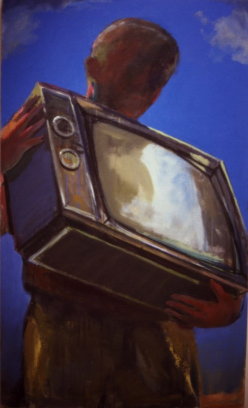 "Video    ,  1998   oil canvas  60"" x 36"""