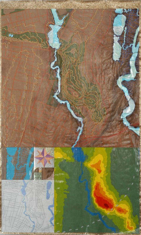 """Hill in the City    ,  2005   mixed media on unstretched canvas  70"""" x 42"""""""