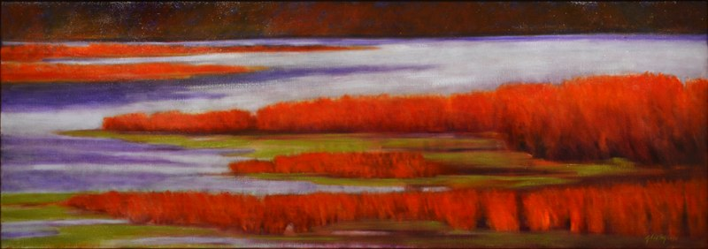 "Elkhorn Shallows    ,  2012   oil on linen   18"" x 49   1/8  """