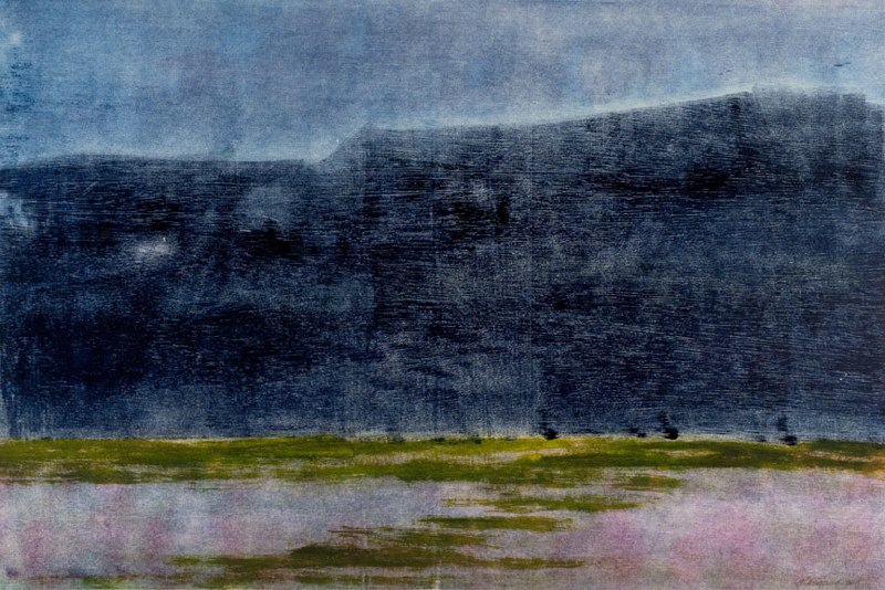 "Night Mesa I    ,  2011   monotype   28   1/8  "" x 38     1/4  """