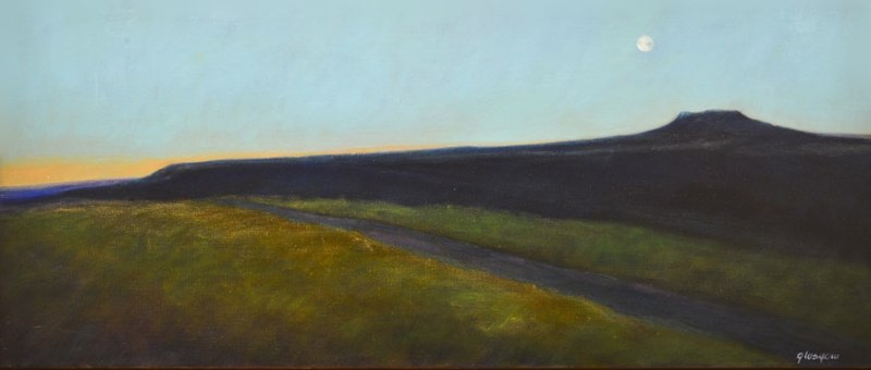 "Grand Mesa Moon    ,  2012   oil on linen   18   1/8  "" x 41     1/8"