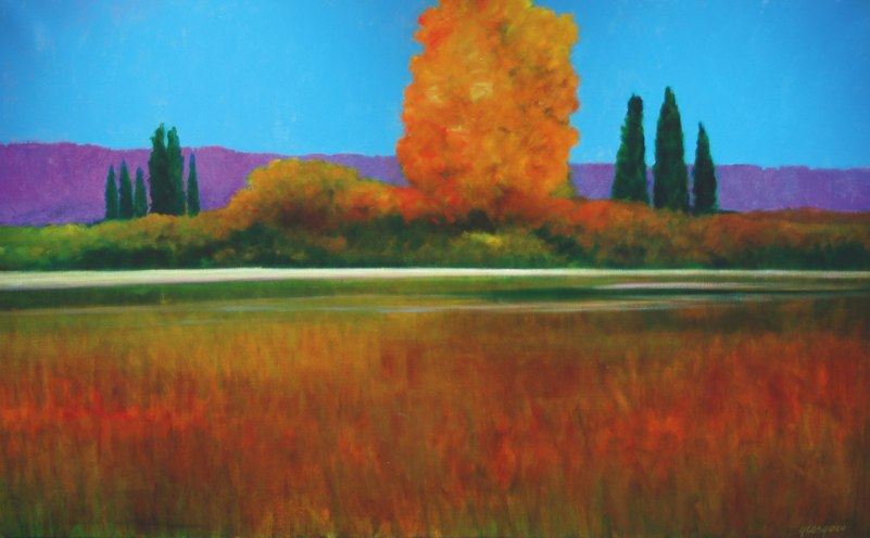 "Orange Tree-France   , 2006   oil on canvas   31   1/8  "" x 49   3/8  """