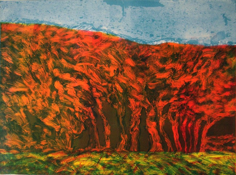 "Woods and Ridge   , 2005   monotype  27"" x 33"""