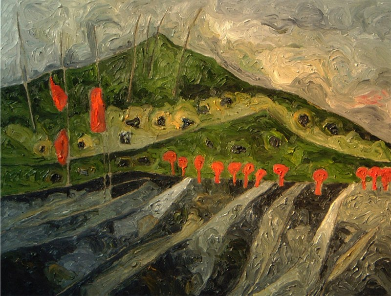 "Outside Alturas   , 2006   oil on canvas   32   3/4  "" x 42   1/4  """