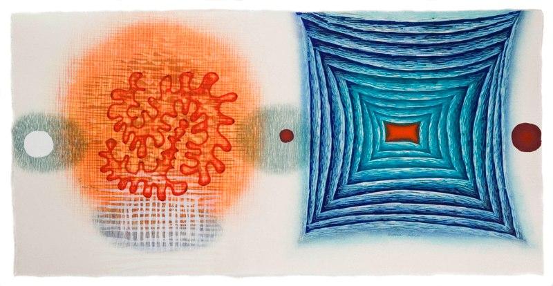 "Materia Infinita    ,  2006   etching and woodcut (3/6)   18  3/4  "" x 30  3/4  """