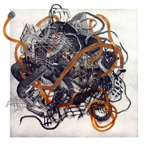 """Urban Transformation #4    ,  2009   etching, lithograph, woodcut, collage (10/12)   33  1/8  """" x 33  1/8  """""""