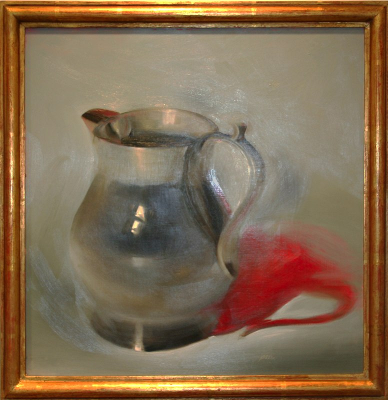 "Silver Pitcher  ,  2000   oil on board  24"" x 24"""