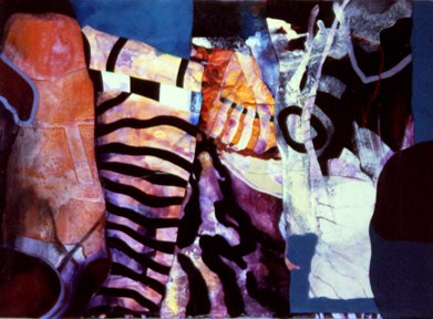 "Cavalli    ,  2000   acrylic on canvas/tyvek   33   1/4  ""     x 45   1/8  """