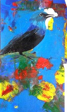 "Box Top Bird IV    ,  2006   collage and acrylic on cardboard   21  7/8  "" x 17"""
