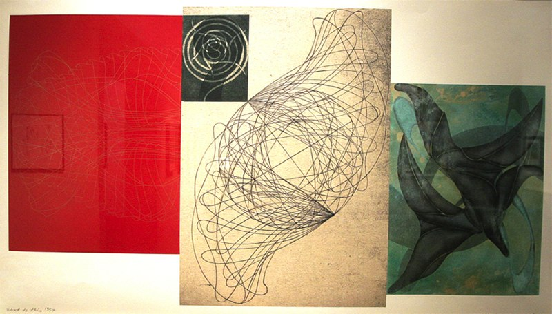 "next to this   ,  2003  etching, woodcut, aquatint, hand painting, chine collé on various papers (16/17)  27  1/8 "" x 45  1/2 """
