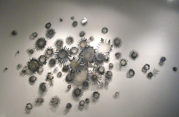 Little Universe Terra (Circual)    ,  2009   acrylic paint on Dura-lar pins, shadows  dimensions variable