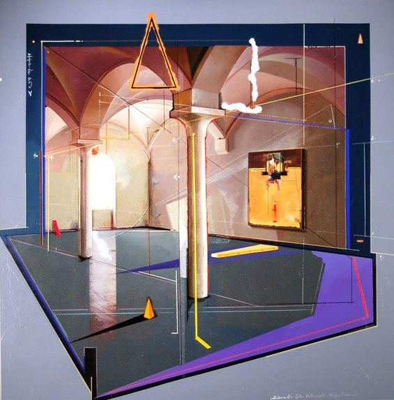"Installation at galleria Praterinsell    ,  1996   mixed media on wood   50"" x 49   1/8  """