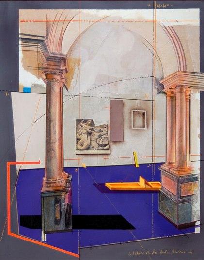 """Progetto per Installazione   , 1994   mixed media on canvas   29  5/8  """" x 25  5/8  """""""