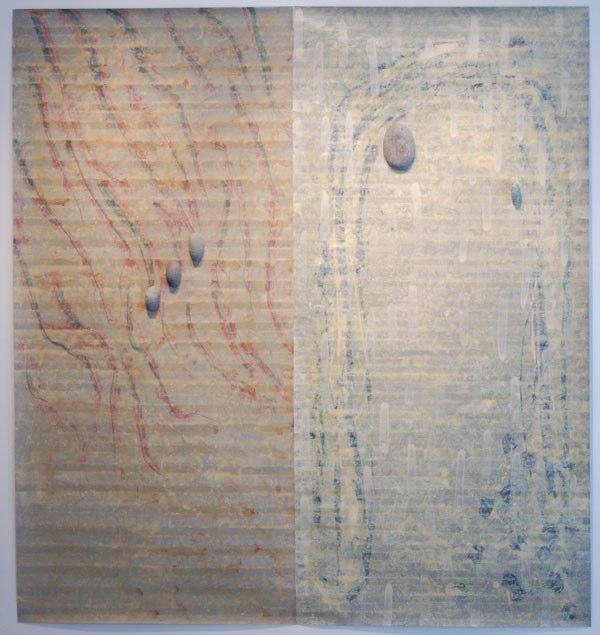 "Un Movimento Sin Treca    ,  2002   acrylic on mylar with stones   80  3/4  "" x 81  1/2  "" x 2"""