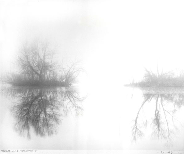 "Refuge Lake Reflections #2,      1994   black and white photograph  30"" x 34"""