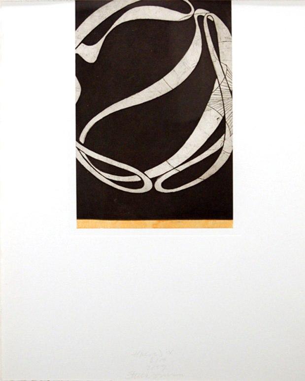 "t(here) IX   , 2009   etching, aquatint, hand painting 10/14  20"" x 16"""