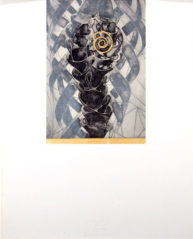 """t(here) V    ,  2009   etching, aquatint, hand painting 10/14  20"""" x 16"""""""