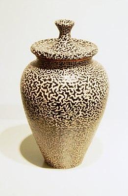 """Lidded Jar    ,  2003   terracotta with low fire glazes   12"""" x 6  1/4  """" x 6  1/4  """""""