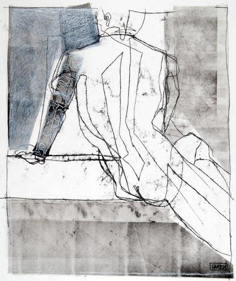 "Mark with Tattoo    ,  2009   monoprint  31"" x 25"""